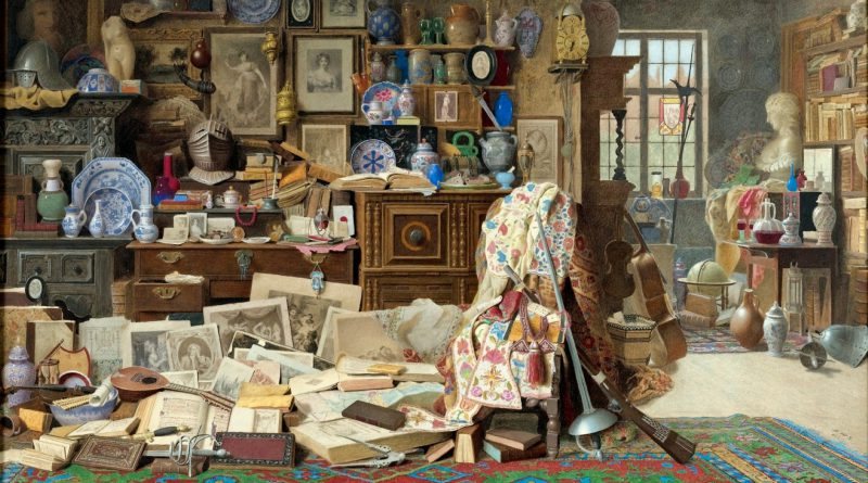 Benjamin Walter Spiers - -Old armour, prints, pictures, pipes, China (all crack'd), old rickety tables, and chairs broken back'd- Thackeray (Large)